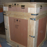 Plywood exhibition case with quick release catches, and hood style lid with handles